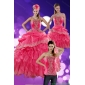 New Style 2015 Hot Pink Quince Dresses with Ruffles and Appliques