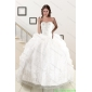 New Style Appliques White Brush Train Quinceanera Dresses with Appliques and Pick Ups