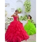 New Style Organza Coral Red Princesita with Quinceanera Dress with Beading and Ruffles for 2015