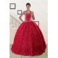 New Style Rolling Flower Beading 2015 Quinceanera Dresses in Coral Red