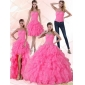 Plus Size Strapless Floor Length Quinceanera Dress with Beading and Ruffles