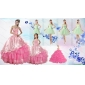 Ruffled Layers Sweetheart Quinceanera Dress and Ruching Apple Green Dama Dresses and Rose Pink Little Girl Dress