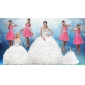 White Sweetheart Ruffles Quinceanera Dress and Sequins V Neck Pink Dama Dresses and Beading White Little Girl Dress