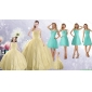 Champagne Ball Gown Quinceanera Dress and Square Knee Length Dama Dresses and Cute  Beading Little Girl Dress