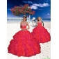 High End Beading and Ruffles Princesita with Quinceanera Dress in Red for 2015 Spring