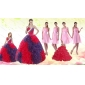 Multi Color Ball Gown Ruffles Quinceanera Dress and Ruching Baby Pink Dama Dresses and  Halter Top Multi Color Little Girl Dress