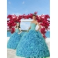 Trendy Beading and Ruffles Princesita With Quinceanera Dress in Aqua Blue for 2015