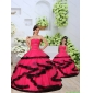 Beading and Ruching Organza Red Princesita With Quinceanera Dress with Layers