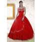 Plus Size Sweetheart Red Puffy Quinceanera Dresses with Embroidery