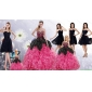 Ruffles and Beading Multi Color Quinceanera Gown and Black Sweetheart Short Prom Dress and Multi Color Straps Little Girl Dress