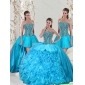 2015 Aqua Blue Quinceanera Dresses with Beading and Ruffles for 2015