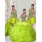 2015 Beading and Ruffles Yellow Green Detachable Dresses for Quince
