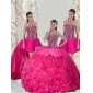 2015 Beautiful Hot Pink Quinceanera Dresses with Beading and Ruffles