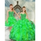 2015 Fashionable Sweetheart Dresses for Quince with Beading and Ruffles