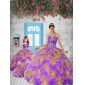 2015 Remarkable Appliques and Ruffles Colorful Princesita Dress