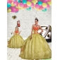 2015 Unique Beading and Embroidery Light Yellow Princesita With Quinceanera Dress