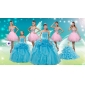 Baby Blue Ball Gown Pick Ups Quinceanera Dress and Beading Rose Pink Short Dama Dresses and Pick Ups Little Girl Dress