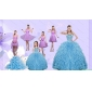Beading Pretty Aqua Blue Quinceanera Gown and Lilac Short Dama Dresses and Halter Top Ruffles Pageant Dresses for Little Girl