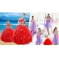 Elegant Red Sweetheart Quinceanera Dress and Sash and Beading Short Dama Dresses and Halter Top Red Little Girl Dress