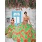 Exclusive Orange and Red Princesita With Quinceanera Dress with Appliques and Ruffles for 2015