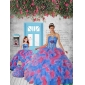 Most Popular Blue and Red Princesita With Quinceanera Dress with Appliques and Ruffles for 2015
