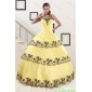 Plus Size Light Yellow Quinceanera Dress with Appliques and Ruffled Layers