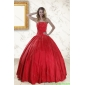 Plus Size Red Strapless Sweet 16 Dresses with Beading