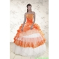 Plus Size Strapless Appliques and Beaded Quinceanera Dresses in Orange