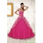 Plus Size Sweetheart Rose Pink Quinceanera Dresses with Sequins and Appliques