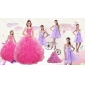Popular Beading and Ruffles Quinceanera Dress and Bownot and Beading Short Dama Dresses and Pink Floor Length Little Girl Dress
