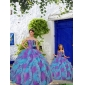 Purple and Aqua Blue Ruffles Organza Princesita With Quinceanera Dress with Beading