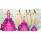 Spaghetti Straps Multi Color Quinceanera Dress and Long Ruching Dama Dresses and Ruffles and Embroidery Little Girl Dress
