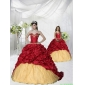 Appliques and Pick-ups Brush Train Princesita With Quinceanera Dress in Wine Red
