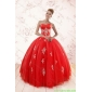 Plus Size Red Puffy Quinceanera Dresses with Appliques