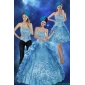 Plus Size Sweetheart Teal Quinceanera Gown with Embroidery and Pick Ups