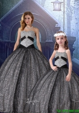 2015 Fall Appliques Matching Sister Dresses in Black