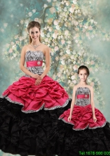 2015 Fall Perfect Strapless Zebra Matching Sister Dresses in Multi Color