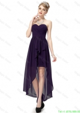 Cheap High Low Sweetheart Purple Prom Dresses with Ruching