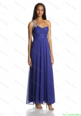 Sexy Empire One Shoulder Ankle Length Chiffon Prom Dresses in Blue