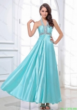 Gorgeous Halter Top Beading Ankle Length Aqua Blue Prom Dresses