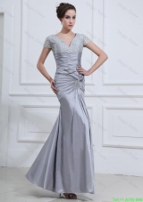 Wonderful Mermaid V Neck Prom Dresses with Beading in Silver
