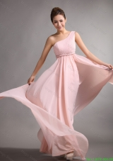 Lovely Empire One Shoulder Prom Gowns with Belt and Ruching