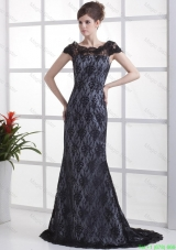 Luxurious Column Lace Black Prom Dresses with Brush Train