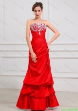 Luxurious Column Strapless Appliques Prom Dresses in Red