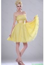 Pretty Yellow Mini Length Prom Dresses with Spaghetti Straps