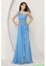 2016 Discount Beaded Baby Blue Prom Dresses with One Shoulder