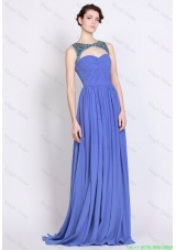 2016 Pretty Bateau Zipper Up Blue Prom Dresses with Brush Train