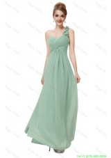 Classical One Shoulder Prom Dresses with Hand Made Flowers