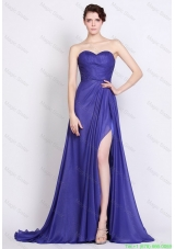 Luxurious Sweetheart High Slit Prom Dresses in Royal Blue