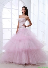 Wonderful Sweetheart Baby Pink Prom Dresses with Sequins and Ruffled